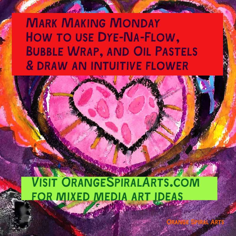OrangeSpiralArts-MarkMakingMonday-Ink&OilPastels
