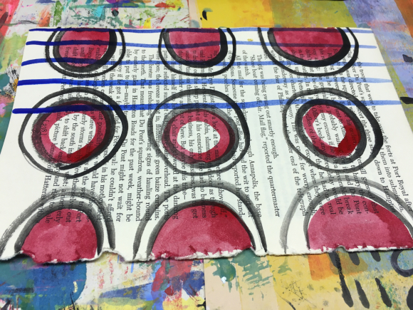 Watercolor Patterns on Old Book Pages